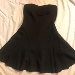 Cute Black Neoprene Strapless Dress
